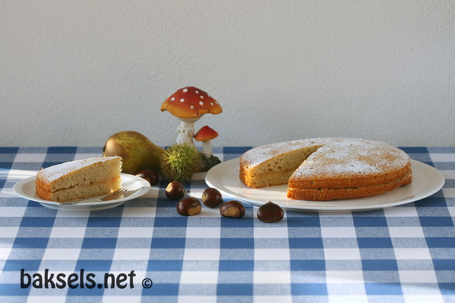 Kastanjetaart met gekarameliseerde peren