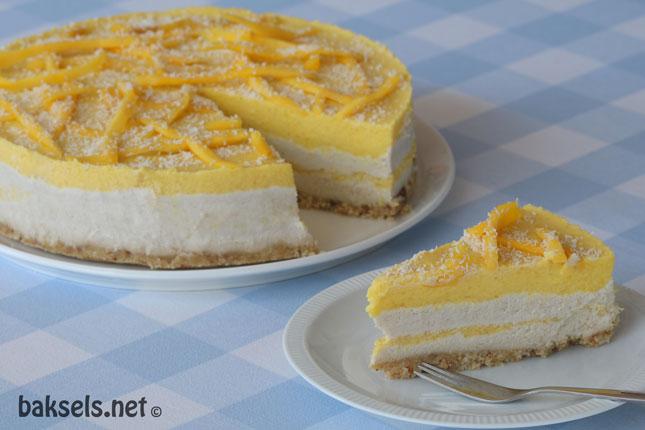Veganistische mango-cheesecake